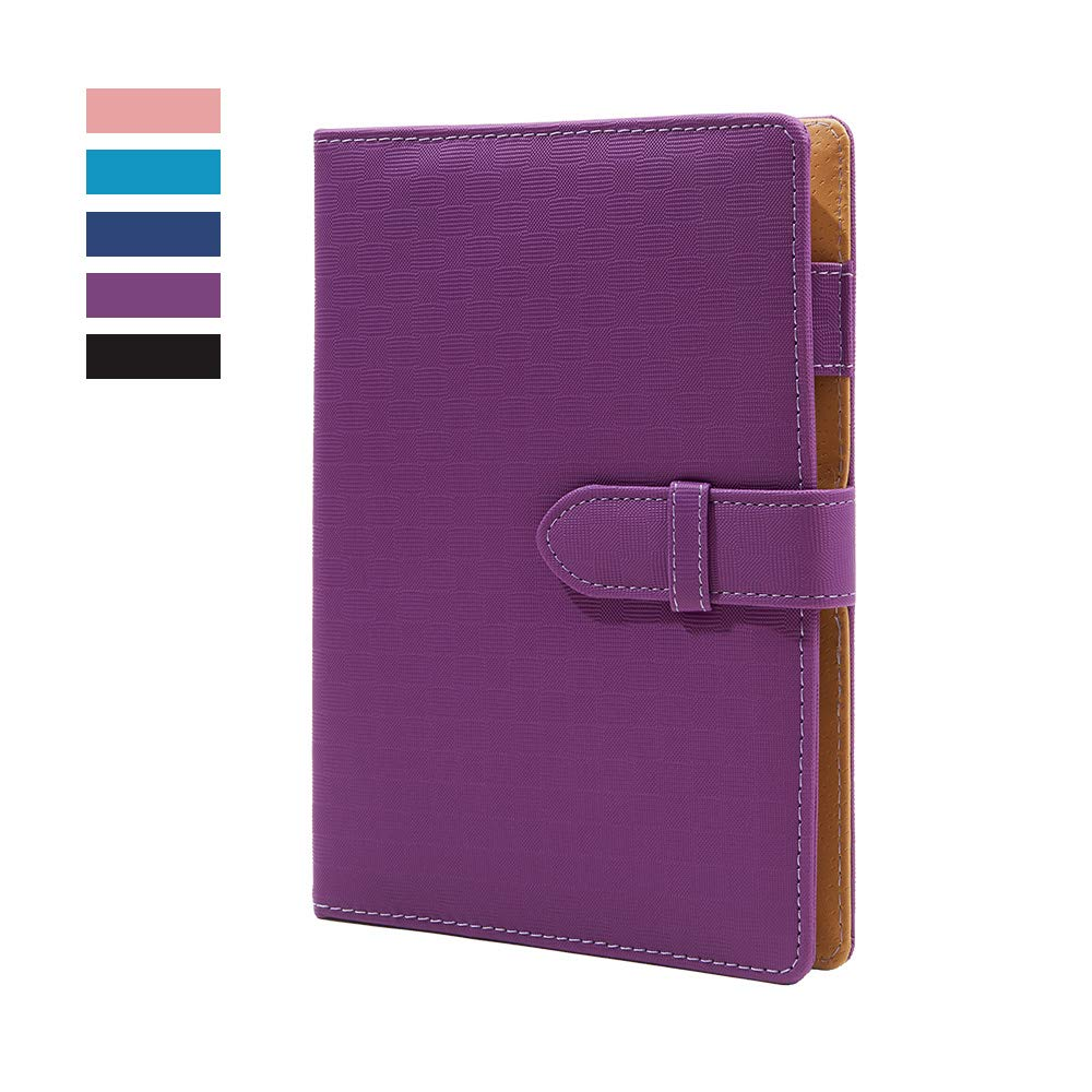 """Leather Binder Journal Refillable Diary with Pen Holder 6 Ring Ruled Notebook and Journal,A5 Binder Loose Leaf Travel Journal 6.7"""" x 9"""" — Purple"""