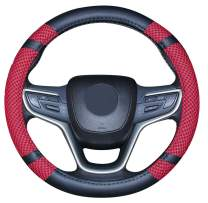 Microfiber Leather and Viscose Universal Breathable Anti-Slip Odorless Steering Wheel Cover (14.5''-15'',Red)