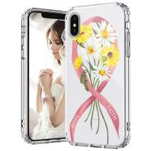MOSNOVO iPhone Xs Case, iPhone X Case, Breast Cancer Awareness Clear Design Printed Transparent Hard Back Case with TPU Bumper Protective Case Cover for iPhone X/iPhone Xs