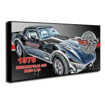 Brotherhood 1978 Compatible with Chevrolet Chevy Corvette Indy 500 Pace Car Key Holder Organizer Wall Mount Rack for Holders The Home Keys Ring Decorative Hangers Decor Hook Hanger