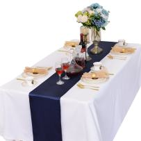LOVWY Pack of 15 Satin Table Runner 12 x 108 Inches for Wedding Party Engagement Event Birthday Graduation Banquet Decoration (Colors Optional) (Navy Blue)