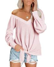 Womens V Neck Waffle Knit Sweatshirts Oversized Tie Knot Tops Pullover Casual Shirts