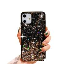 """HUIYCUU Compatible with iPhone 11 Case 6.1"""", Cute Clear Slim Girl Women Glitter Design Shiny Sparkle Shockproof Soft Bumper + Hard Cover Case for iPhone 11 XI,Colorful Bling Rose Gold"""