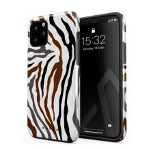 BURGA Phone Case Compatible with iPhone 11 PRO MAX - Wild Zebra Fur Skin Print Exotic Safari Savage Desert Africa Heavy Duty Shockproof Dual Layer Hard Shell + Silicone Protective Cover
