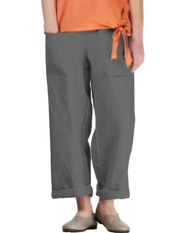 Blue linen pantssmall feet casual linen pantssplicing process