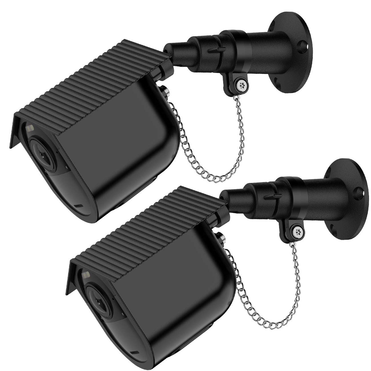 Koroao Security Outdoor Mount Only for Arlo Ultra with Anti-Theft Chain + Weatherproof Housing - Silicone Protective Case-Extra Protection for Your Arlo Camera (2-Pack, Black)