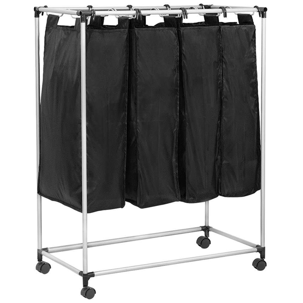 4 Laundry Sorter with Baskets Large Laundry Hamper Sorter Canvas Rolling Laundry Sorter Cart with Wheels 4-Bag Heavy Duty Removable Bags Brake Casters Organizer for Laundry Room Silver Plating,Black