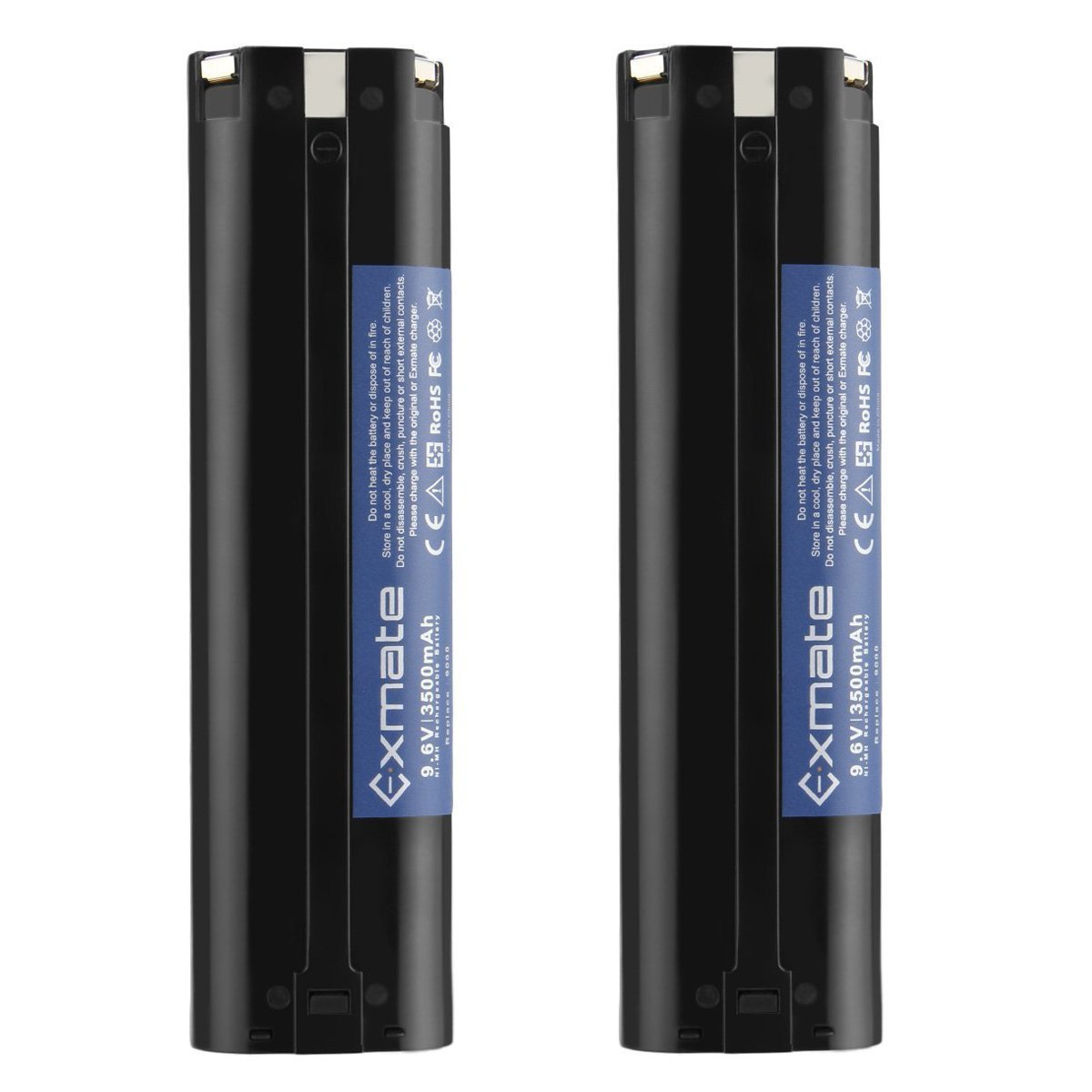 Exmate 2PCS 9.6V 3.5Ah Ni-MH Replacement Battery Compatible with Makita 9000 9001 9002 9033 9600 193890-9 192696-2 632007-4 191681-2 192533-0 4093D 4093DW 5090D 5090DW 6095D High Capacity Battery Pack