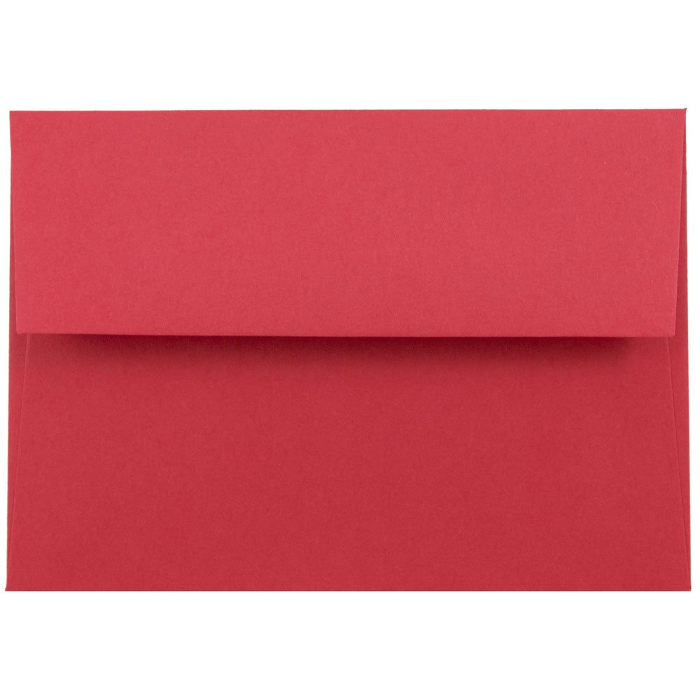 JAM PAPER 4Bar A1 Colored Invitation Envelopes - 3 5/8 x 5 1/8 - Red Recycled - Bulk 250/Box