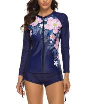 Urchics Womens Long Sleeve Rash Guard Wetsuit 2 Piece Tankini Sets Swimsuits