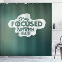 """Ambesonne Motivational Shower Curtain, Stay Focused and Never Give up Inspirational Words on Abstract Backdrop, Cloth Fabric Bathroom Decor Set with Hooks, 75"""" Long, Jade Green"""