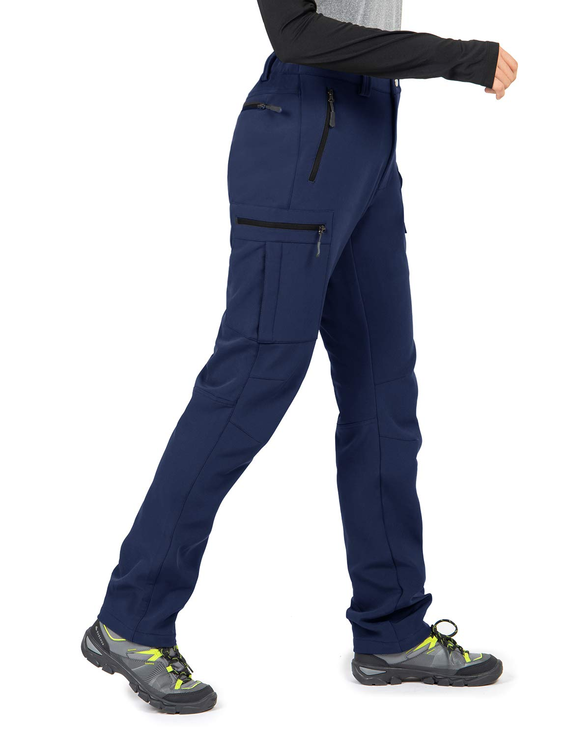 Wespornow Women's-Fleece-Lined-Hiking-Pants Snow-Ski-Pants Water-Resistance-Outdoor-Softshell-Insulated-Pants for Winter