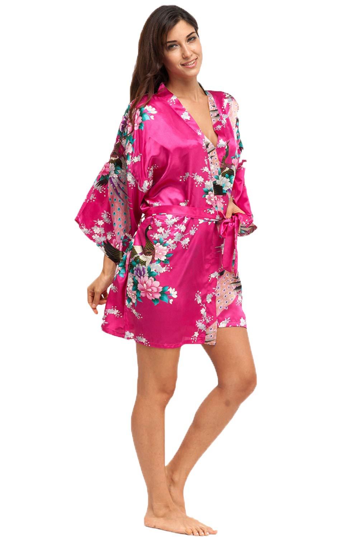 Women's Short Kimono Robe Floral Bathrobe Bridesmaids Robes Satin Dressing Gown