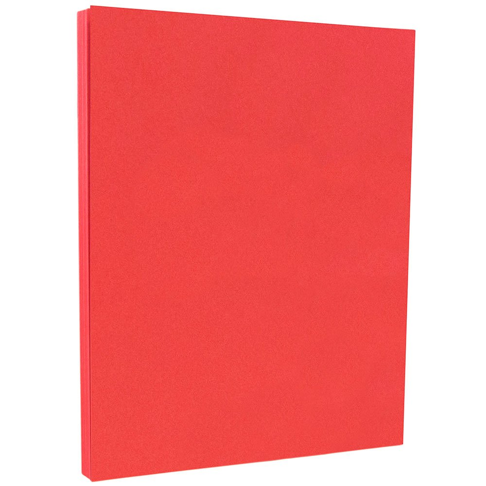 JAM PAPER Colored 65lb Cardstock - 8.5 x 11 Coverstock - Red Recycled - 50 Sheets/Pack