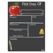 Cohas First Day of School Milestone Board with Basic Designs and Reusable Chalkboard Style Surface, 12 by 16 Inches, No Marker