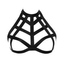 JELINDA Harness Bra Women - Fashion Elastic Strappy Halter Harness Bralette Bra Garter Cupless Body Cage Bra Black