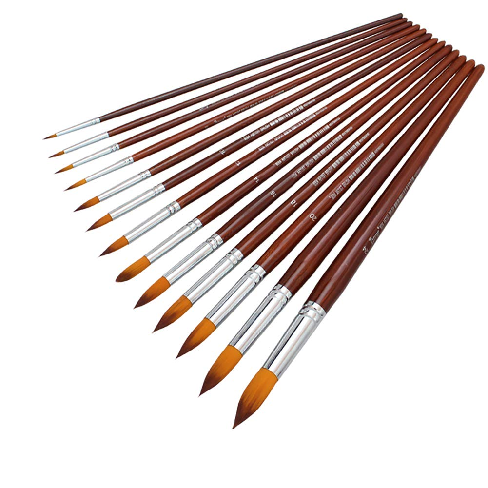 AMAGIC 13 Pcs Pointed-Round Art Paintbrushes – Synthetic Nylon Art Paint Brush Set for Acrylic Watercolor Oil Painting, Long Wooden Handle