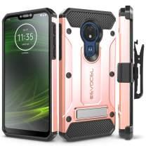 Motorola Moto G7 Power Case, Evocel [Explorer Series Pro] Premium Full Body Case with Glass Screen Protector, Belt Clip Holster, Metal Kickstand for Motorola Moto G7 Power (XT1955), Rose Gold