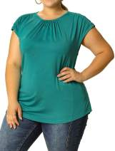 Agnes Orinda Women's Plus Size Ruched Blouses Round Neck Short Sleeve Casual Summer Top
