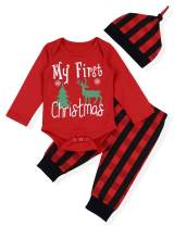Baby Christmas Outfit Newborn Boys My First Christmas Deer&Tree Print Top + Long Pants Clothes Sets