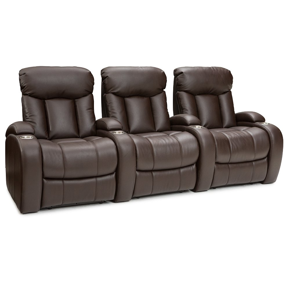 Seatcraft Sausalito - Home Theater Seating - Leather Gel - Manual Recline - Stainless Steel Cupholders - in Arm Storage (Row of 3, Brown)