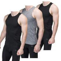 Sieayd Men's Compression Tank Top Baselayer Cool Dry Sleeveless Workout Athletic Sport Shirts Pack of 3