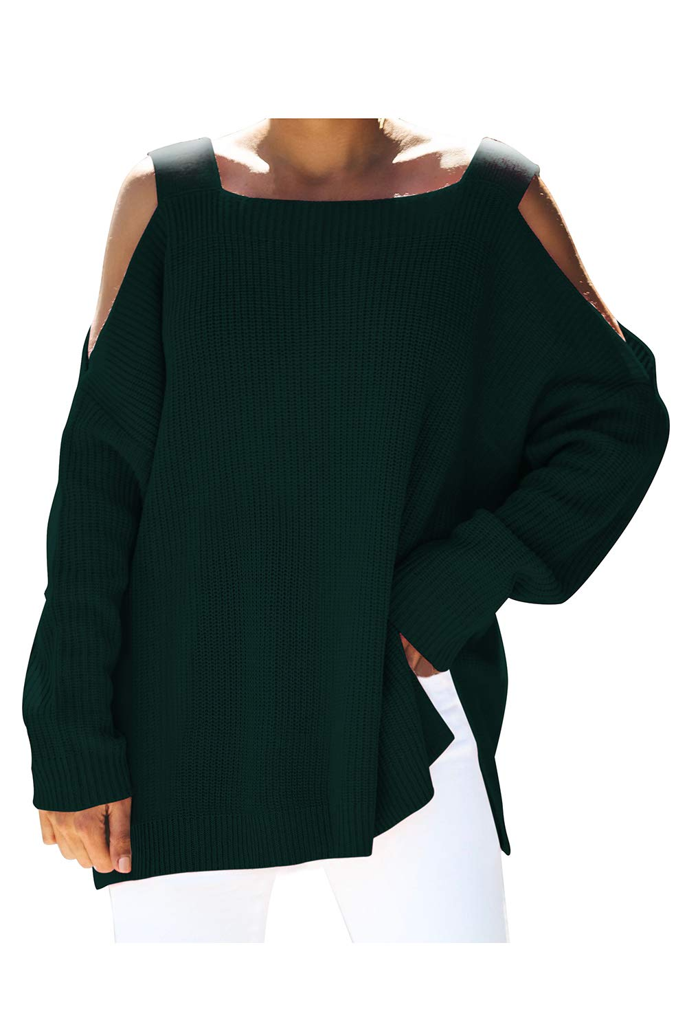 Viottiset Women's Cold Shoulder Pullover Knit Sweater Square Neck Loose Top