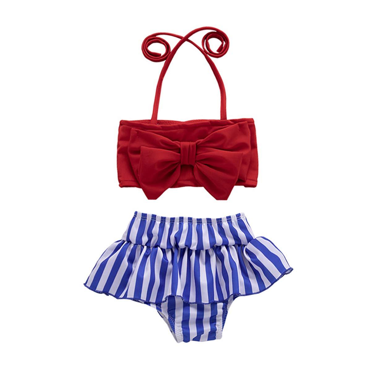 JEELLIGULAR Baby Girl Babies Swimwear Bowknot Stripe Swimsuit Bathing Suit Bikini Set Outfits Summer