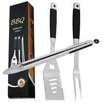 EOYIZW 3-Piece Grill Tool Set, Stainless Steel Grilling Tools Set, Heavy Duty BBQ Accessories: Extra Thick Barbecue Utensils Spatula, Fork, Tongs