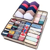 MIU COLOR Foldable Closet Underwear Organizer Drawer Divider Storage Boxes Under Bed Organizer 4 Set for Underwear, Bras, Socks, Ties, Scarves