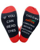 YEXIPO Womens Funny Watching Christmas Movies Socks If You Can Read This Winter Warm Novelty Crew Socks Gifts for Men