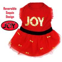 kyeese Dog Party Dress with Golden Bowtie 4-Layer Tutu Dogs Dresses Red with Shiny Sequins Dog Birthday Dress