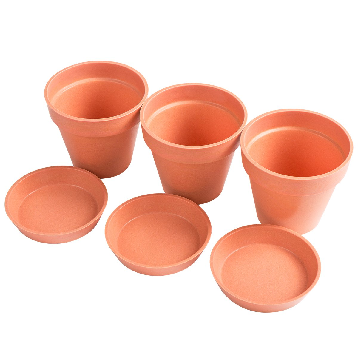 ARTALL 3 Pack,5 Inch Biodegradable Round Nursery Flower Pots Starter Kit for Seed Planter, Eco-Friendly and Organic, Orange