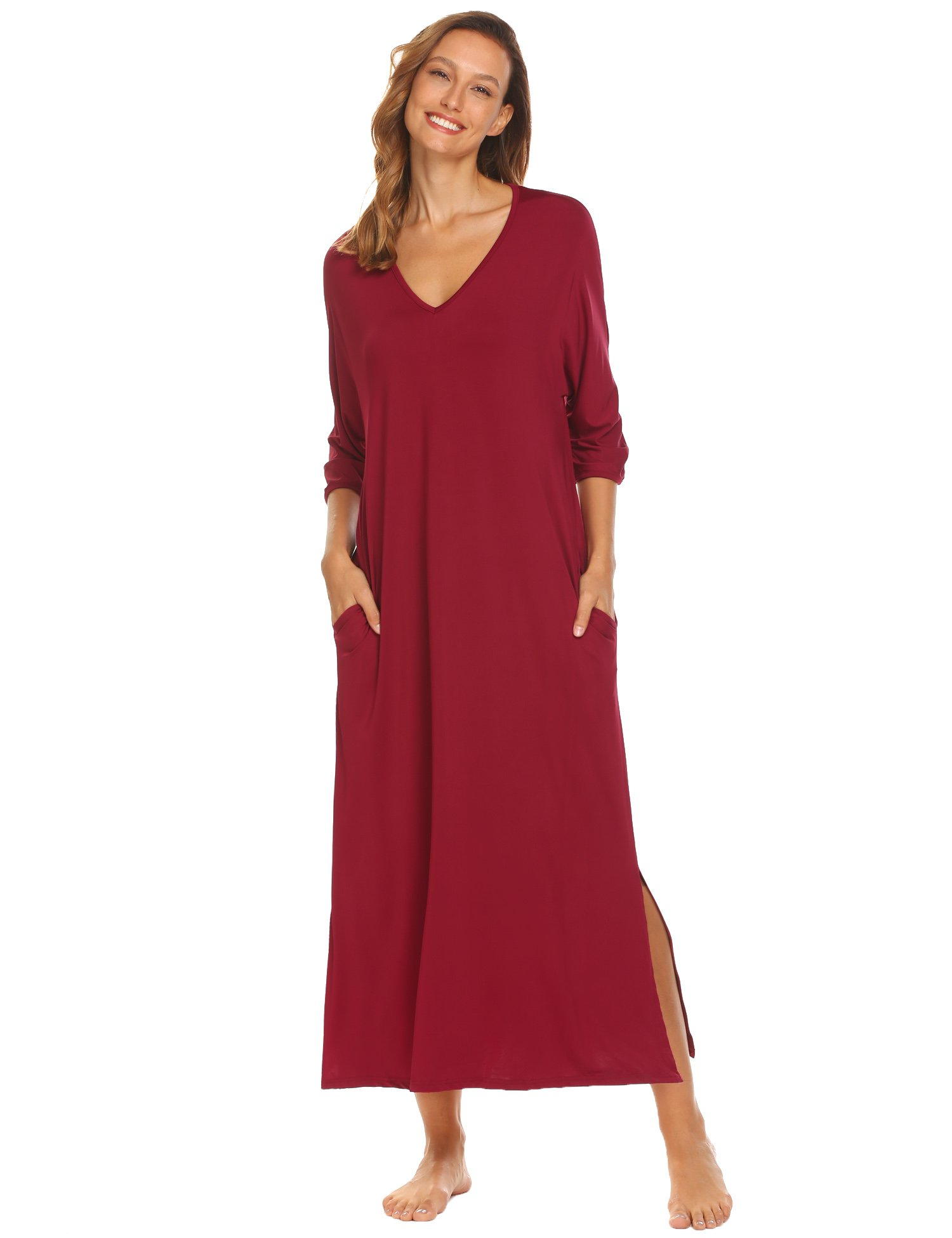 Ekouaer Ladies Nightgowns Long Length, V-Neck 3/4 Sleeve Nightgown with Pocket