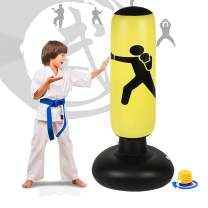 LEKÄRO Fitness Punching Bag for Kids, Heavy Punching Bag Inflatable Punching Tower Bag Freestanding Children Fitness Play Adults De-Stress Boxing Target Bag 63in