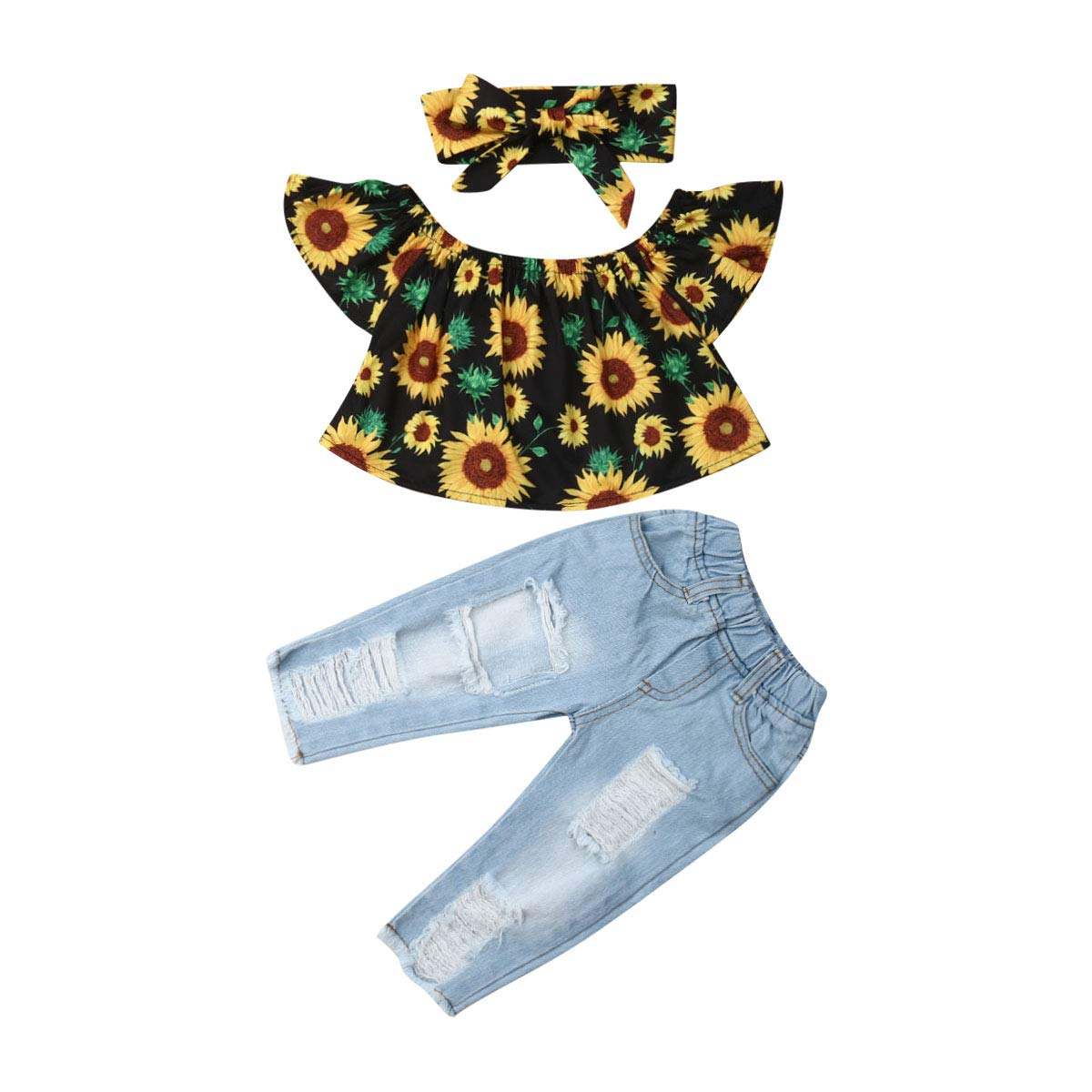 Baby Girls Ripped Jeans Outfit Long Sleeve Floral Ruffle T Shirt Tops Denim Pants Set Fall Clothing Set