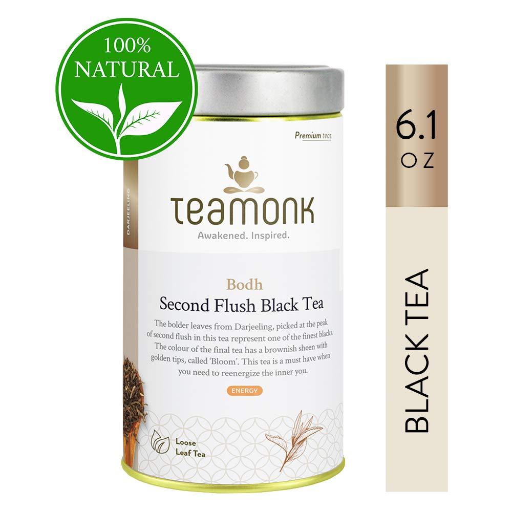Teamonk Organic Darjeeling Tea Second Flush Tea Loose Leaf (87 Cups) | Premium Black Tea Leaves | 100% Natural Tea | No Additives - 6.1 oz