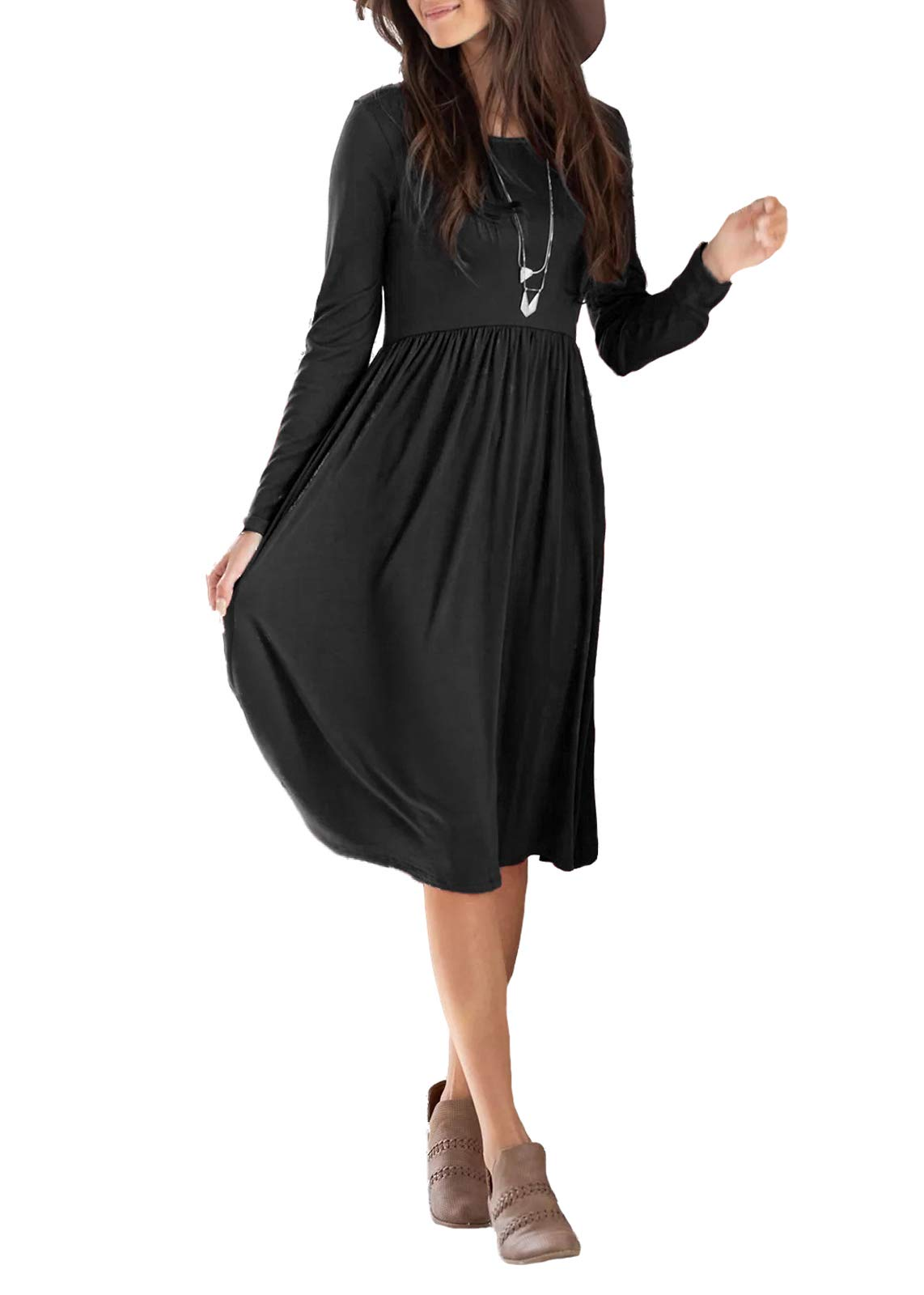 Dressation Women's Long Sleeve Pleated Loose Swing Casual Dress with Pockets Knee Length Black