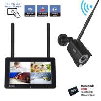 """Tonton 1080P Portable Wireless LCD Security Camera System with 7"""" IPS Touchscreen Monitor, 4CH NVR Kit and 2.0MP 2-Way Audio Camera with PIR Sensor,Rechargeable Battery, 32GB SD Card Preinstalled"""