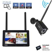 "Tonton 1080P Portable Wireless LCD Security Camera System with 7"" IPS Touchscreen Monitor, 4CH NVR Kit and 2.0MP 2-Way Audio Camera with PIR Sensor,Rechargeable Battery, 32GB SD Card Preinstalled"