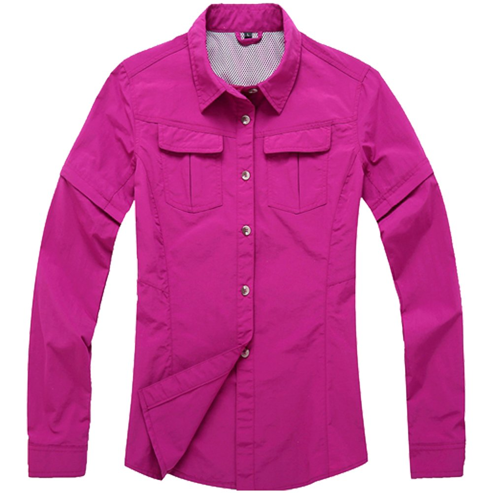 Women's Quick Dry Sun Protection Short Sleeve Wicking Shirts for Hiking Camping Fishing Sailing (805 Rose red, XXX-Large)