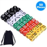 AUSTOR 50 Pieces 6 Sided Dice Set 5 x 10 16mm Acrylic Dice with a Free Velvet Pouch