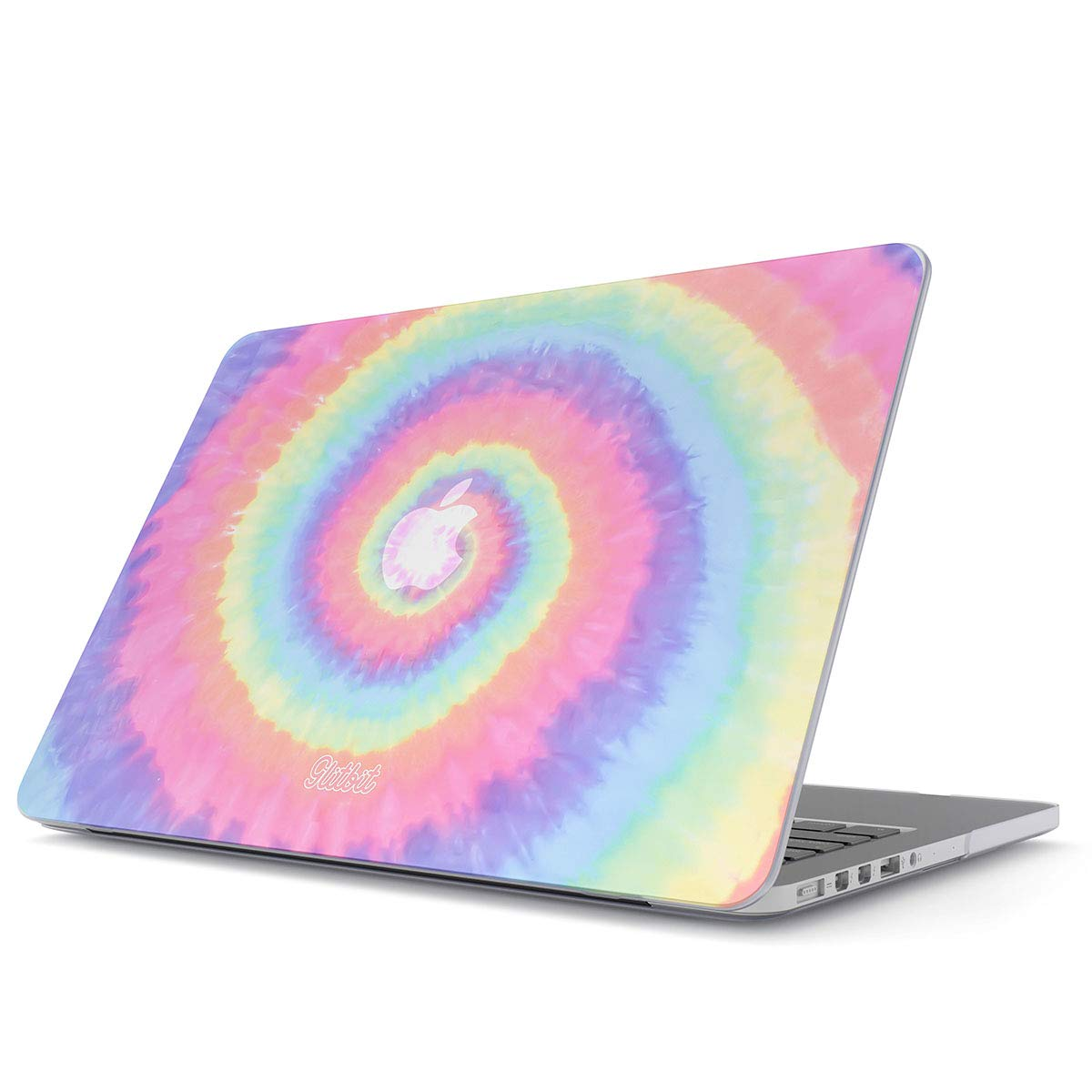 Glitbit Hard Case Cover Compatible with MacBook Air 13 inch Case Release 2018-2019, Model: A1932 with Retina Display and Touch ID Hipster Pastel Rainbow Colors Trippy Swirl Holography Pale