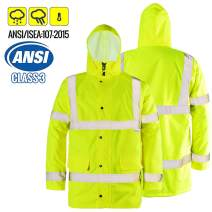 FWG High Visibility Safety Bomber Jacket for Men Women Waterproof Insulated Workwear Parka (Medium, Fluorescent)