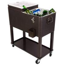 JOYBASE 80 Quart Rolling Ice Chest, Portable Patio Party Bar Drink Cooler Cart, Dark Brown Wicker Faux Rattan Tub Trolley, with Shelf, Beverage Pool with Bottle Opener