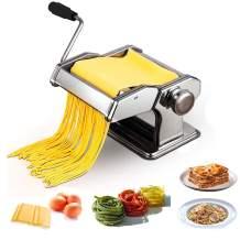 KGK Pasta Maker Hand Crank Pasta Machine, Home Kitchen Stainless Steel Roller Pasta Cutter Fresh Dough Noodle Maker Adjustable Thickness Machine for Spaghetti, Fettuccini, Lasagna, Ravioli or Dumpling