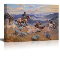 """wall26 - Loops and Swift Horses are Surer Than Lead by Charles Marion Russell - Canvas Print Wall Art Famous Painting Reproduction - 24"""" x 36"""""""