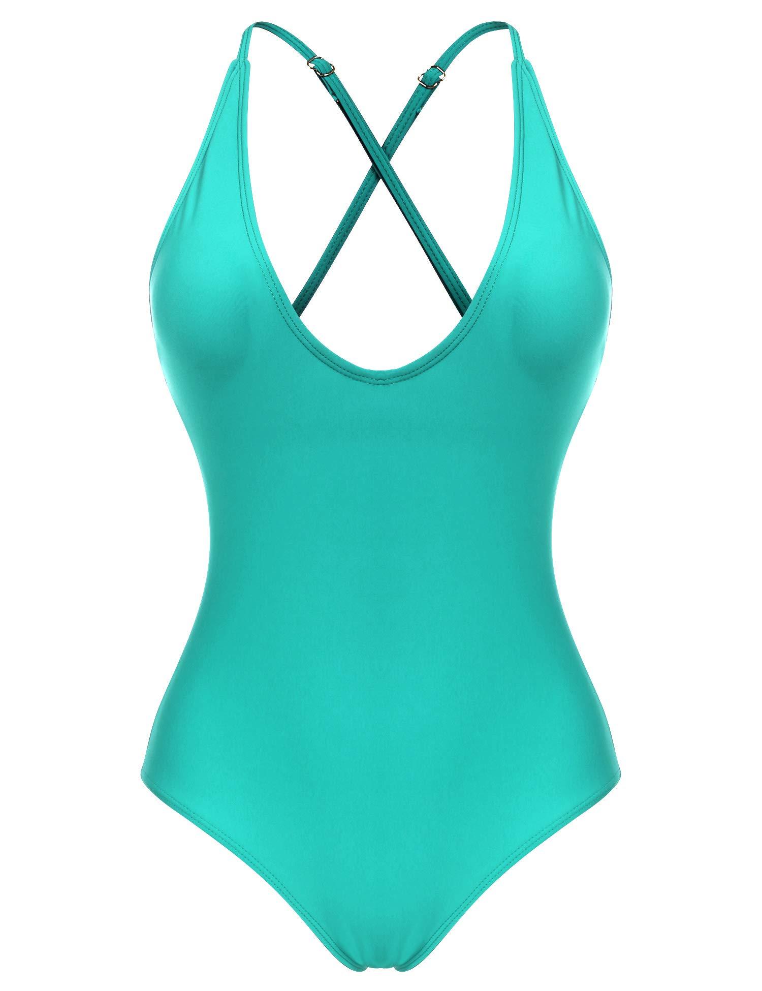 Ekouaer Women Sexy One Piece Swimsuit Straps Back Cross Monokini Bathing Suit S-XXL