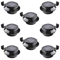 Solar Gutter Light Dusk to Dawn, MAYSAK Outdoor LED Deck Light Waterproof Landscape Lighting Lamp Security Fence Light Wall Light Battery Operated for Garden Yard Pathway Patio (Black-8 Pack)