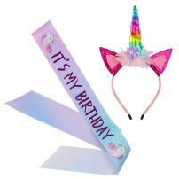 Unicorn Birthday Girl Set, Beinou Shiny Unicorn Headband and Birthday Girl Sash Set Perfect Unicorn Birthday Party Supplies, Rainbow